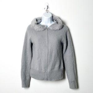 Vintage Y2K Grey Faux Fur Zip Up Hoodie Sweater